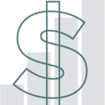 outline of a dollar sign with a bar graph in the background