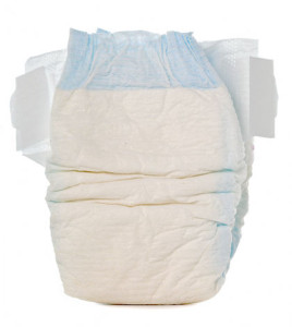 Disposable baby diaper, isolated on white background.