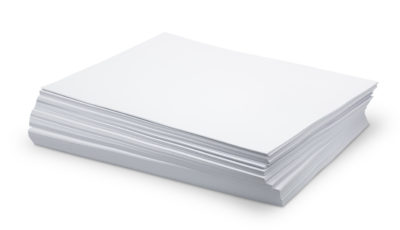 stack of white paper on a white background